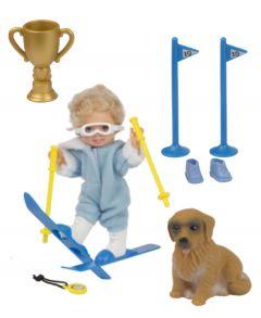 Mini Chiara w Skis & Dog - Blue