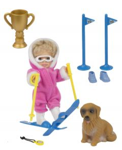 Mini Chiara Doll with Skis & Dog - Pink