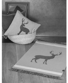 Smoke Stag Floor Rug With Fringes