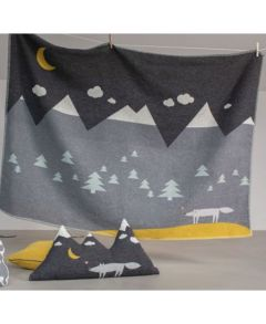 Charcoal Wolf Embroidered Lili Cot Blanket