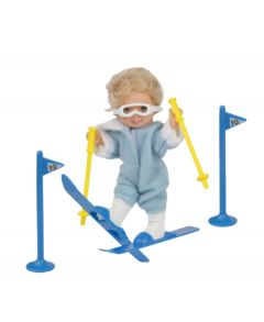 Mini Paula Doll with Skis - Blue
