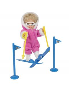 Mini Paula Doll with Skis - Pink
