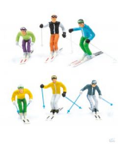 Set of 6 standing skiers with skis & poles